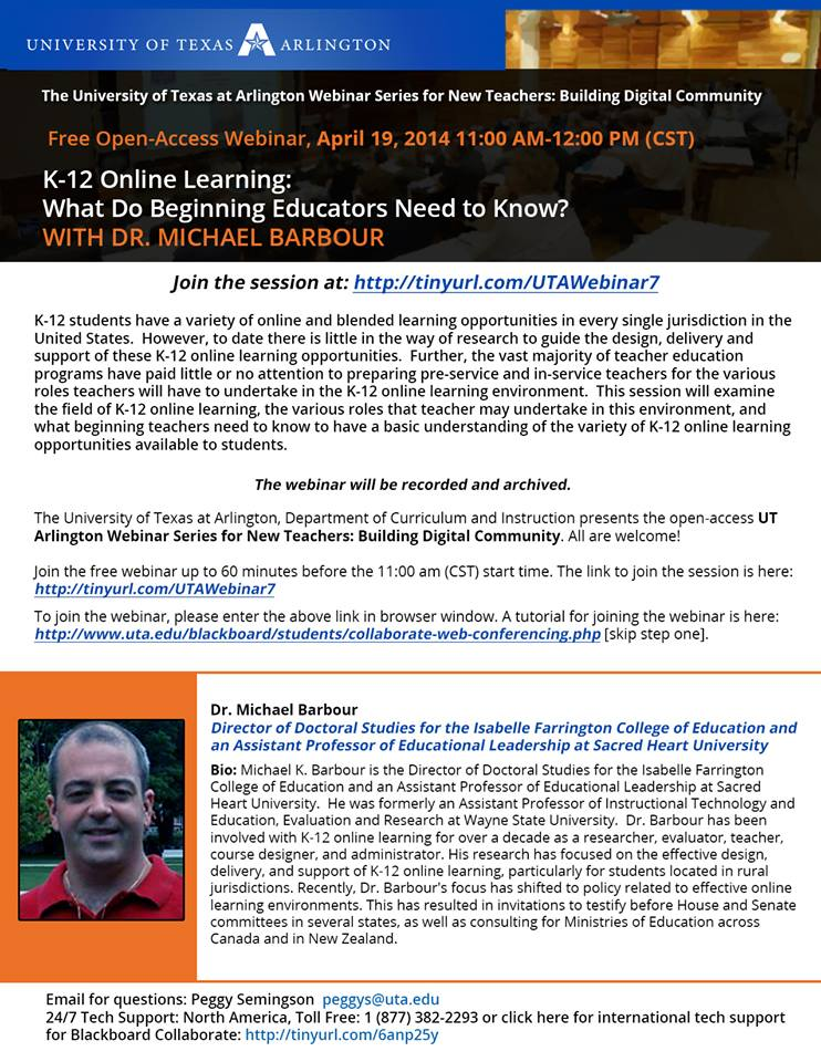 April 19 webinar on Virtual Schools