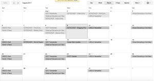 Google Calendar screen shot of a blogging plan for August